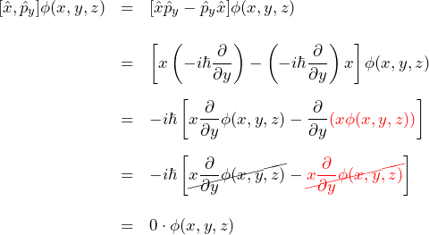 \begin{eqnarray*} [\hat{x},\hat{p}_y]\phi(x,y,z) &=& [\hat{x}\hat{p}_y-\hat{p}_y\hat{x}]\phi(x,y,z)\\\\ &=& \left[x\left(-i\hbar \frac{\partial}{\partial y}\right)-\left(-i\hbar \frac{\partial}{\partial y}\right)x\right]\phi(x,y,z)\\\\ &=& -i\hbar\left[ x\frac{\partial}{\partial y} \phi(x,y,z)- \frac{\partial}{\partial y}\textcolor{red}{\left(x \phi(x,y,z)\right)} \right]\\\\ &=& -i\hbar\left[ \cancel{x\frac{\partial}{\partial y} \phi(x,y,z)} - \textcolor{red}{\cancel{x\frac{\partial}{\partial y}\phi(x,y,z)}} \right]\\\\ &=&0\cdot\phi(x,y,z) \end{eqnarray*}