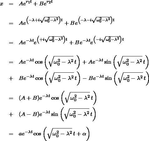 \begin{eqnarray*} x&=&Ae^{r_1 t}+Be^{r_2 t} \\ \\ &=& Ae^{\left(-\lambda + i\sqrt{\omega_0^2-\lambda^2}\right)t}+ Be^{\left(-\lambda - i\sqrt{\omega_0^2-\lambda^2}\right)t} \\ \\ &=& Ae^{-\lambda t} e^{\left(+i\sqrt{\omega_0^2-\lambda^2}\right)t}+ Be^{-\lambda t} e^{\left(-i\sqrt{\omega_0^2-\lambda^2}\right)t} \\ \\ &=& Ae^{-\lambda t} \cos{\left(\sqrt{\omega_0^2-\lambda^2}\,t\right)}+ Ae^{-\lambda t} \sin{\left(\sqrt{\omega_0^2-\lambda^2}\,t\right)}\\ &+& Be^{-\lambda t} \cos{\left(\sqrt{\omega_0^2-\lambda^2}\,t\right)}- Be^{-\lambda t} \sin{\left(\sqrt{\omega_0^2-\lambda^2}\,t\right)}\\ \\ &=& (A+B)e^{-\lambda t}\cos{\left(\sqrt{\omega_0^2-\lambda^2}\,t\right)}\\ &+& (A-B)e^{-\lambda t}\sin{\left(\sqrt{\omega_0^2-\lambda^2}\,t\right)}\\ \\ &=&  ae^{-\lambda t}\cos{\left(\sqrt{\omega_0^2-\lambda^2}\,t + \alpha\right)} \end{eqnarray*}