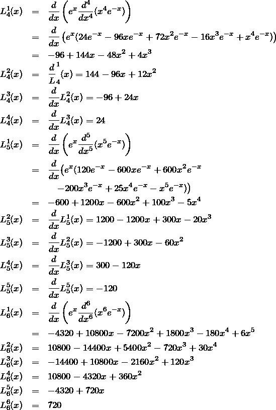\begin{eqnarray*}L_4^1(x)&=&\frac{d}{dx}\left(e^x\frac{d^4}{dx^4}(x^4 e^{-x})\right)\\ &=&\frac{d}{dx}\left(e^x(24e^{-x} - 96xe^{-x}+72 x^2 e^{-x}-16 x^3 e^{-x}+x^4 e^{-x})\right)\\ &=&-96 + 144x -48 x^2+4x^3\\ L_4^2(x)&=&\frac{d} L_4^1(x)=144-96x+12x^2\\ L_4^3(x)&=&\frac{d}{dx}L_4^2(x)=-96+24 x\\ L_4^4(x)&=&\frac{d}{dx}L_4^3(x)=24\\ L_5^1(x)&=&\frac{d}{dx}\left(e^x\frac{d^5}{dx^5}(x^5e^{-x})\right)\\ &=&\frac{d}{dx}\bigl(e^x(120e^{-x}-600xe^{-x}+600x^2 e^{-x}\\&&\quad-200x^3e^{-x}+25x^4e^{-x}-x^5 e^{-x})\bigr)\\ &=&-600+1200x - 600x^2 + 100x^3 -5x^4\\ L_5^2(x)&=&\frac{d}{dx}L_5^1(x)=1200-1200x + 300x -20 x^3\\ L_5^3(x)&=&\frac{d}{dx}L_5^2(x)=-1200+300x -60x^2\\ L_5^4(x)&=&\frac{d}{dx}L_5^3(x)=300-120x\\ L_5^5(x)&=&\frac{d}{dx}L_5^5(x)=-120\\ L_6^1(x)&=&\frac{d}{dx}\left(e^x\frac{d^6}{dx^6}(x^6e^{-x})\right)\\ &=&-4320+10800x-7200x^2+1800x^3-180x^4 + 6x^5\\ L_6^2(x)&=&10800-14400x+5400x^2-720x^3+30x^4\\ L_6^3(x)&=&-14400+10800x-2160x^2+120x^3\\ L_6^4(x)&=&10800-4320x+360x^2\\ L_6^5(x)&=&-4320+720x\\ L_6^6(x)&=&720\end{eqnarray*}