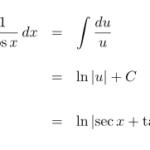 【積分】∫sec(x) dx(∫1/cos(x) dx)の不定積分